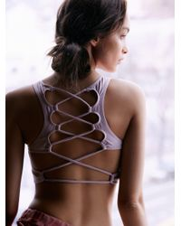 Free People | Pink Lattice Back Bra | Lyst