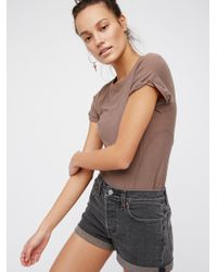 Free People | Gray Levi's High Rise Wedgie Cutoffs | Lyst