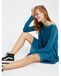 Free People | Blue Long Sleeve Swing Dress | Lyst