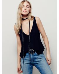 Free People | Black Low And Lower Cami | Lyst