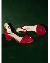 Free People | Red Marigold Block Heel | Lyst