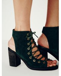 Free People | Green Minimal Lace Up Heel | Lyst