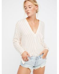 Free People | White Morning Striped Dolman | Lyst