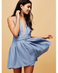 Free People | Blue Nadja Halter Dress | Lyst