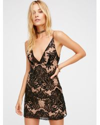 Free People | Black Night Shimmers Mini Dress | Lyst