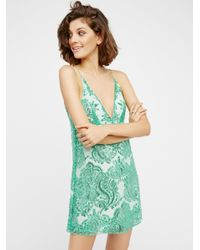 Free People | Green Night Shimmers Mini Dress | Lyst