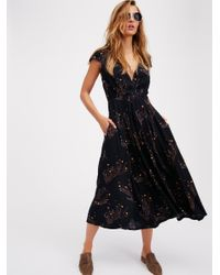Free People - Black Printed Retro Midi Dress - Lyst