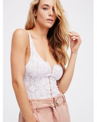 Free People | White Pucker Lace Notch Cami | Lyst