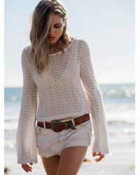 Free People | White Raw Hem Denim Shorts | Lyst
