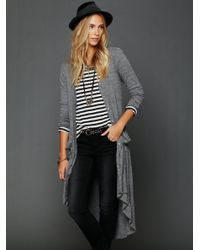 Free People | Gray Ribbed Up Maxi Cardigan | Lyst