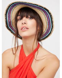 Free People - Multicolor Salt Water Stripe Straw Hat - Lyst
