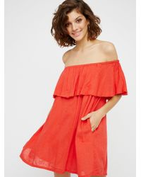 Free People | Red Serefina Off The Shoulder Dress | Lyst