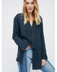Free People   Blue Shimmering Shore Buttondown   Lyst