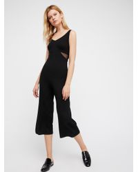 60bfc867242 Lyst - Free People So Fine Jumpsuit in Black