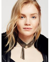 Free People - Gray Stone Front Leather Choker - Lyst