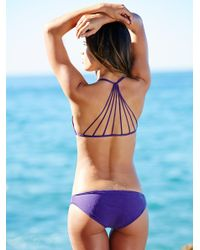 Free People - Purple Strappy Racer Back Swim Top Zuma Basic Bottom - Lyst
