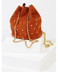 Free People | Brown Studded Suede Party Pouch | Lyst