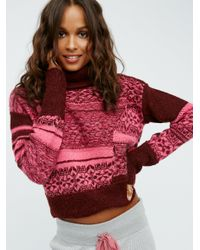 Free People   Red This And That Stripe Sweater   Lyst