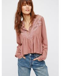 Free People | Multicolor Tulips Embroidered Buttondown | Lyst