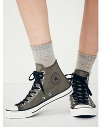 Free People | Black Vintage Leather Travel Chucks | Lyst