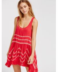 Free People   Red Voile And Lace Trapeze Slip   Lyst