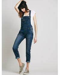Free People | Blue Womens Penrose Flare Overall | Lyst