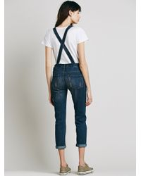 Free People - Blue Washed Denim Overall - Lyst