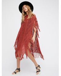 Free People | Red Without Borders Crochet Kaftan | Lyst