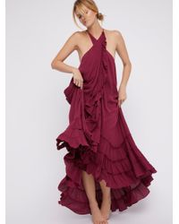 Free People   Red Wrap Around Maxi Dress   Lyst