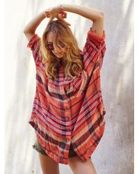 Free People | Red Year Round Buttondown Shirt | Lyst