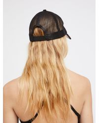 Free People - Black Ziggy Straw Baseball Hat - Lyst