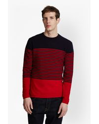 French Connection - Red Turner Stripe Knit Sweater for Men - Lyst