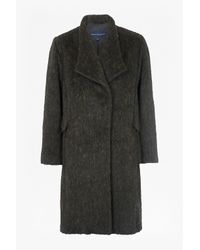 French Connection - Black Tyler Wrap-over Oversized Wool Coat - Lyst