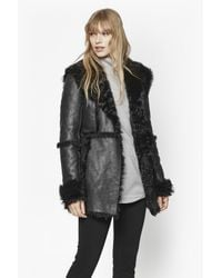 French Connection   Black Winter Toscana Sheepskin Coat   Lyst