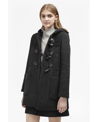 French Connection   Gray Teddy Check Hooded Duffle Coat   Lyst