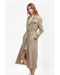 French Connection | Natural Sidewalk Drape Belted Duster Coat | Lyst