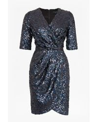 French Connection - Gray Lunar Sparkle Sequin Wrap Dress - Lyst