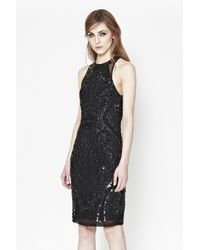 French Connection | Black Pearl Embellished Cage Dress | Lyst