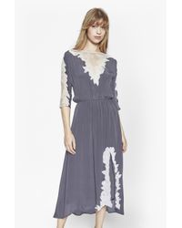 French Connection - Gray Isla Embroidered Maxi Dress - Lyst