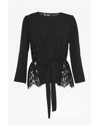 French Connection | Black Midnight Plains Lace Top | Lyst