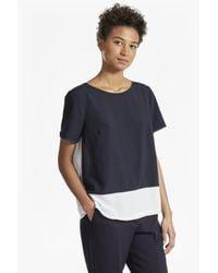 French Connection | Blue Crepe Light Colour Block T-shirt | Lyst