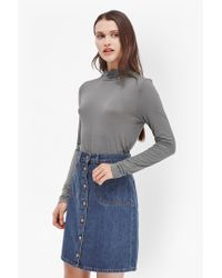 French Connection - Gray Lexy Mock Neck Top - Lyst