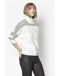 French Connection - White Mozart Oversized Colour Block Jumper - Lyst