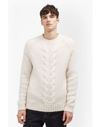 French Connection - White Ridge Cable Knit Jumper for Men - Lyst
