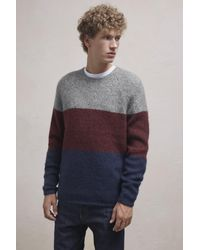 French Connection - Gray Block Stripe Mohair Mix Jumper for Men - Lyst
