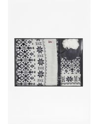 French Connection - Black Christmas Frost Scarf And Beanie Set for Men - Lyst