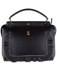 Fendi - Black Leather Handbag Shopping Bag Purse Dot Com Vitello Century Wave - Lyst