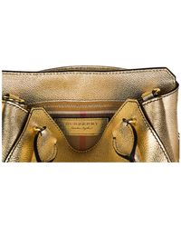 Burberry - Metallic Leather Handbag Shopping Bag Purse Buckle - Lyst
