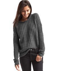 Gap | Gray Ribbed Crewneck Sweater | Lyst