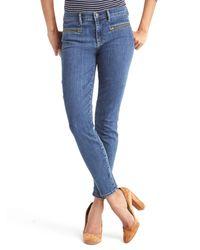 Gap | Blue Mid Rise Zip Pocket True Skinny Ankle Jeans | Lyst